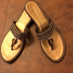 Gold Flip Flops with Beads